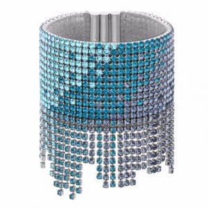 Bracciale in metallo con placcatura rodio e cristalli