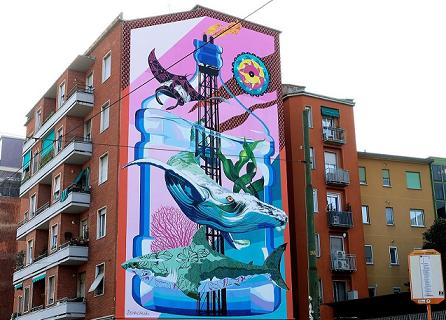 Arriva a Lambrate <i>Anthropoceano</i> il primo murale mangia-smog