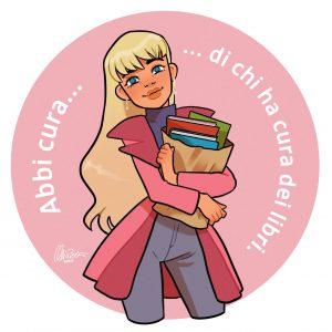 Abbi cura di chi ha cura dei libri. Disegno di Alice Berti