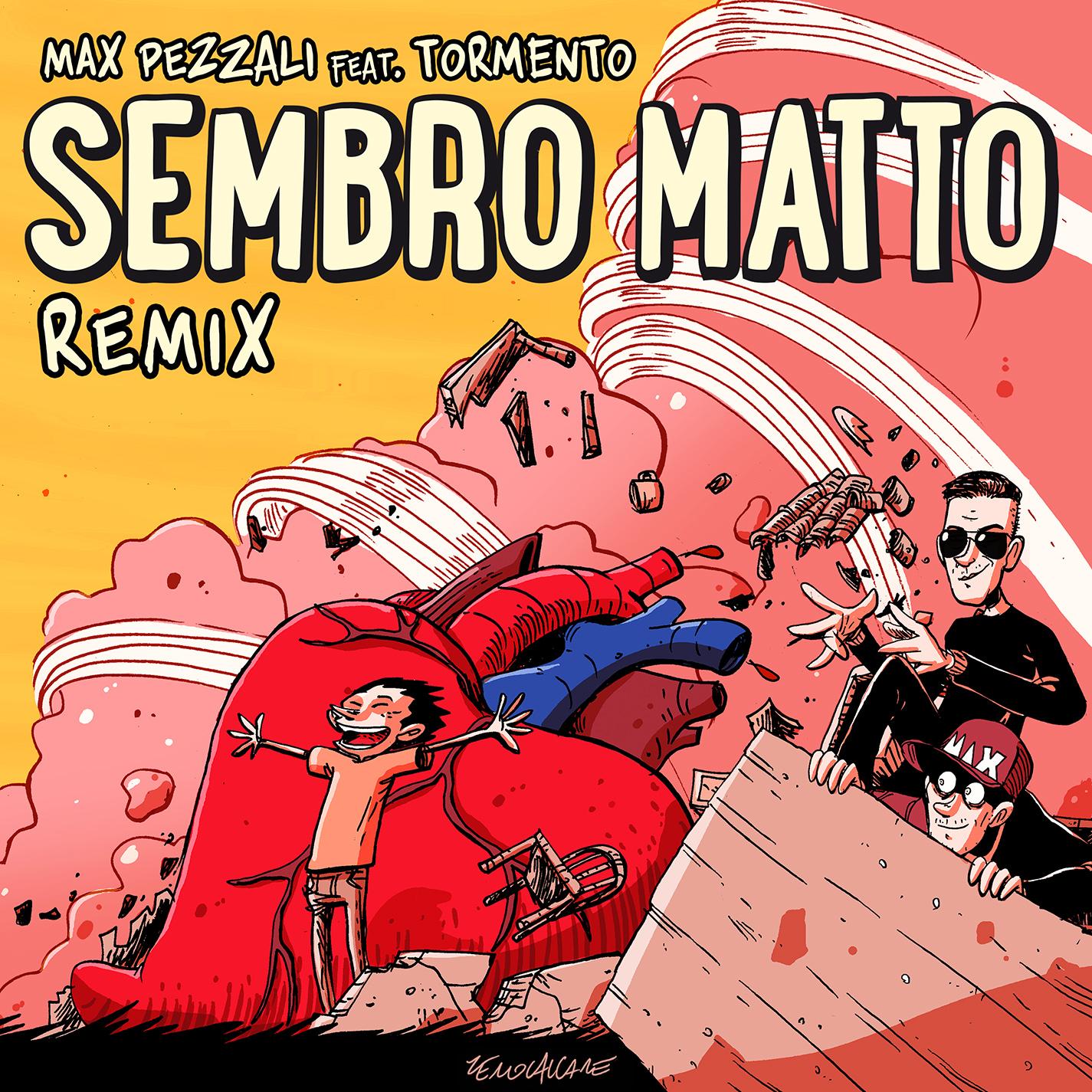 Max Pezzali - Sembro matto remix. Immagine di copertina di Zerocalcare