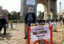 Protesta dei ristoratori all'Arco della Pace