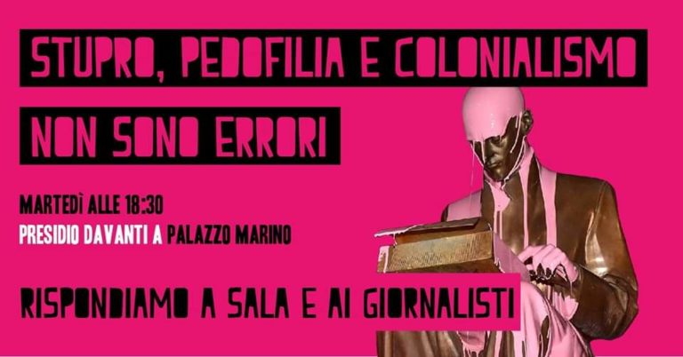 Montanelli, la protesta continua: femministe in piazza
