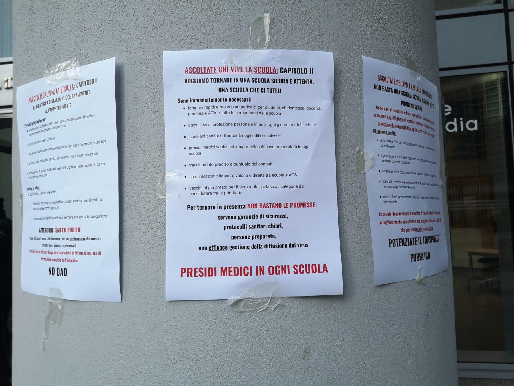 protesta scuola milano