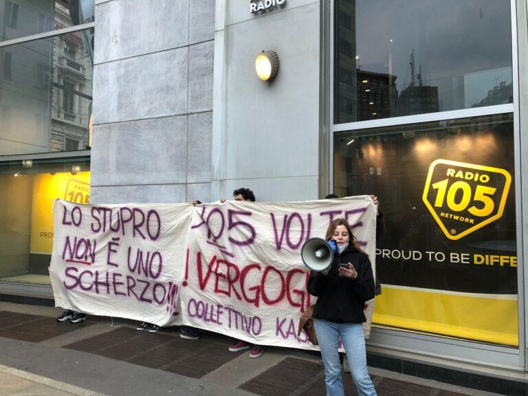 Blitz del Collettivo Kasciavìt contro Radio 105: «Dallo Zoo discorsi sessisti»